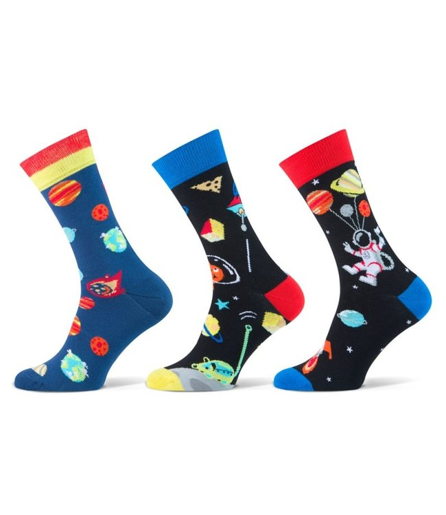Teckel Vrolijke heren sokken space 3 paar volledig naadloos