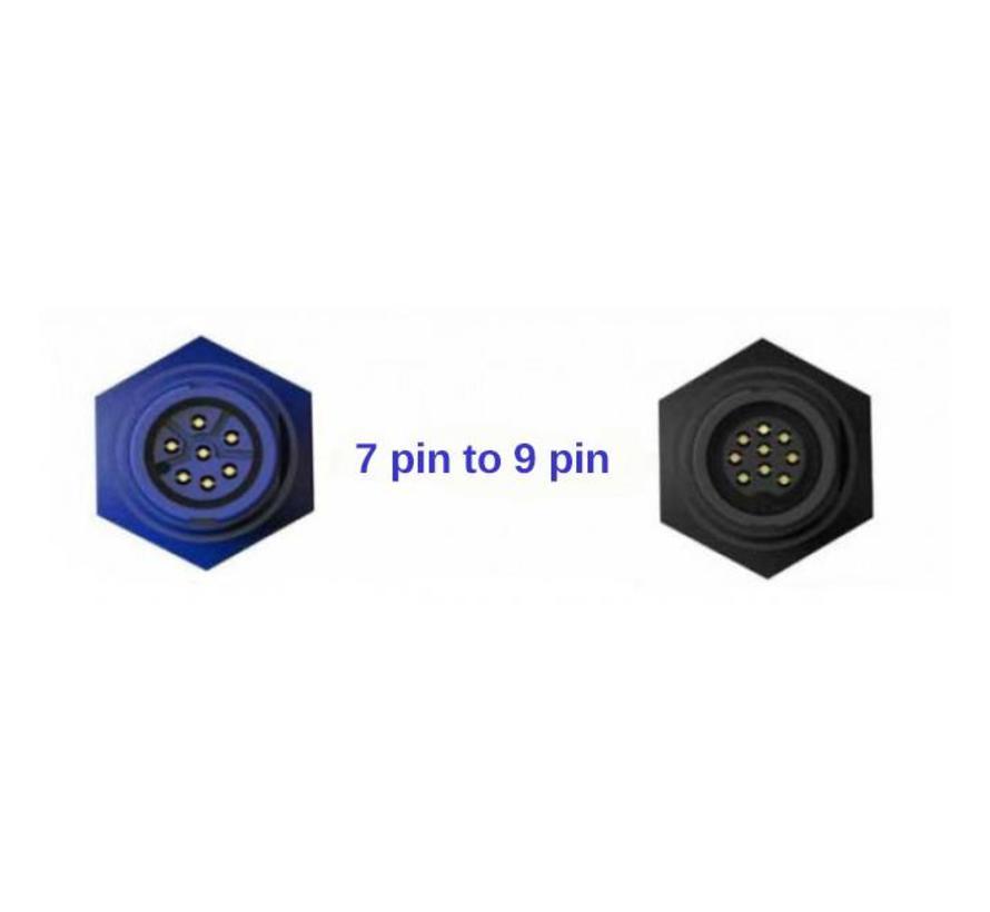 9 Pin black XDCR to 7 pin blue adapter