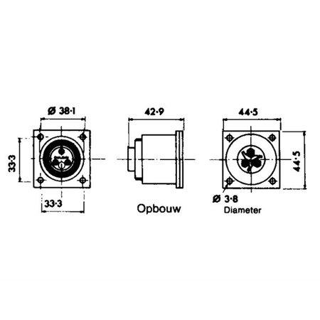 Waterdicht stopcontact en stekker 2 Polig