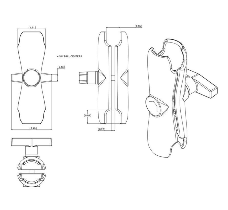 """RAM-201U dubbele socket-arm voor 1,5 """"-ballen"""