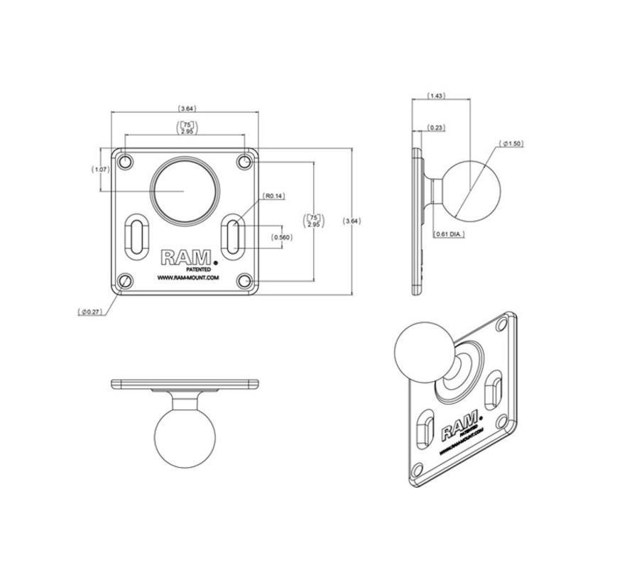 RAM-2461U 75x75mm VESA Plaat met Bal