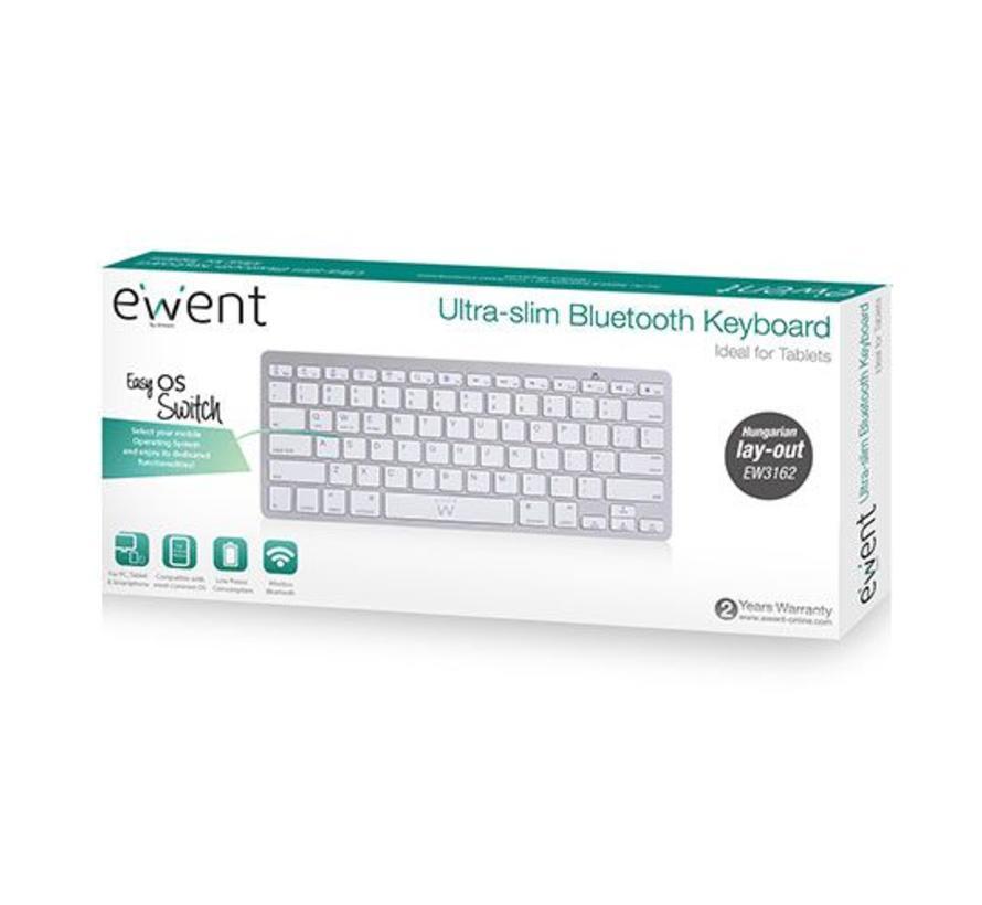 Toetsenbord Bluetooth, Qwerty, zilver met wit