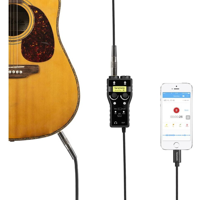 SmartRig+ DI 2 kanaals Mic en Gitaar Interface voor iOS apparaat