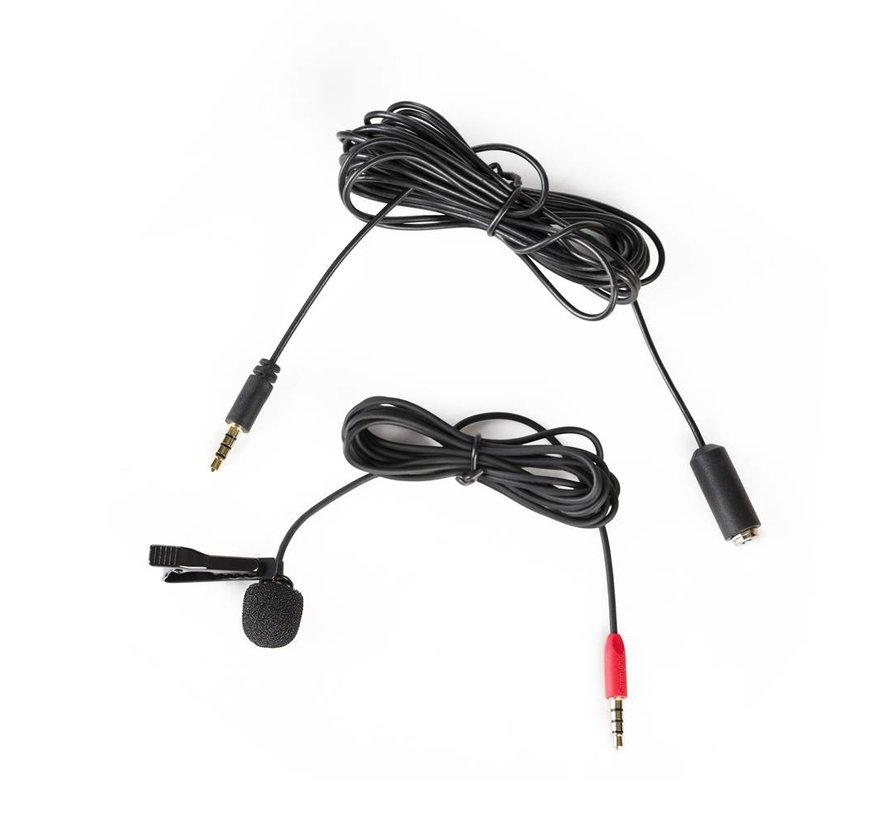 SR-LMX1+ dasspeld microfoon met 3.5mm TRRS connector en  4m extension kabel