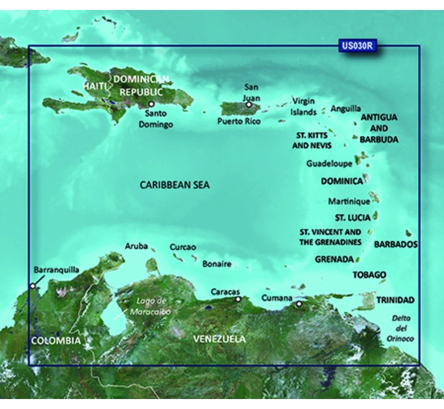 Caribisch gebied BlueChart g2 Vision HD kaart VUS030R
