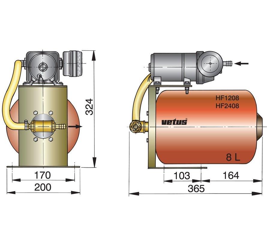 HF1208 hydrophoor met 8 liter tank