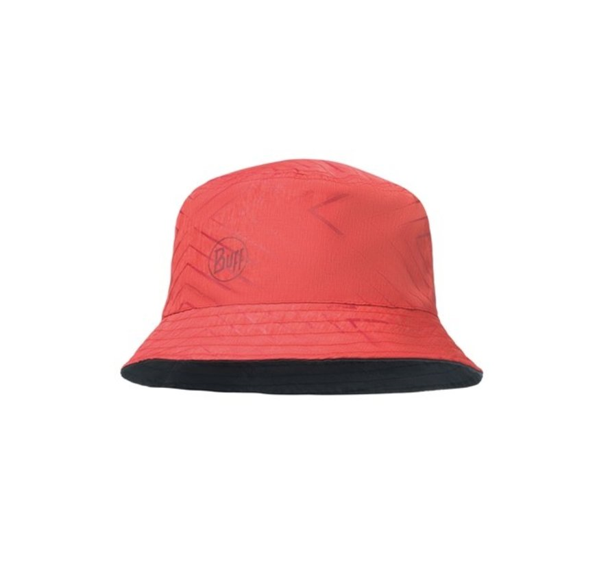 Travel Bucket Hat Collage Red-Black - Zonnehoed