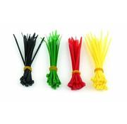 Gembird Zelfborgende nylon kabelbinders, 100 mm x 2,5 mm, 4 kleuren set, zak van 100 stuks
