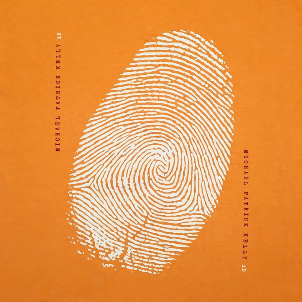 "Loop-Schal ""iD"" in Orange mit weißem Fingerprint"