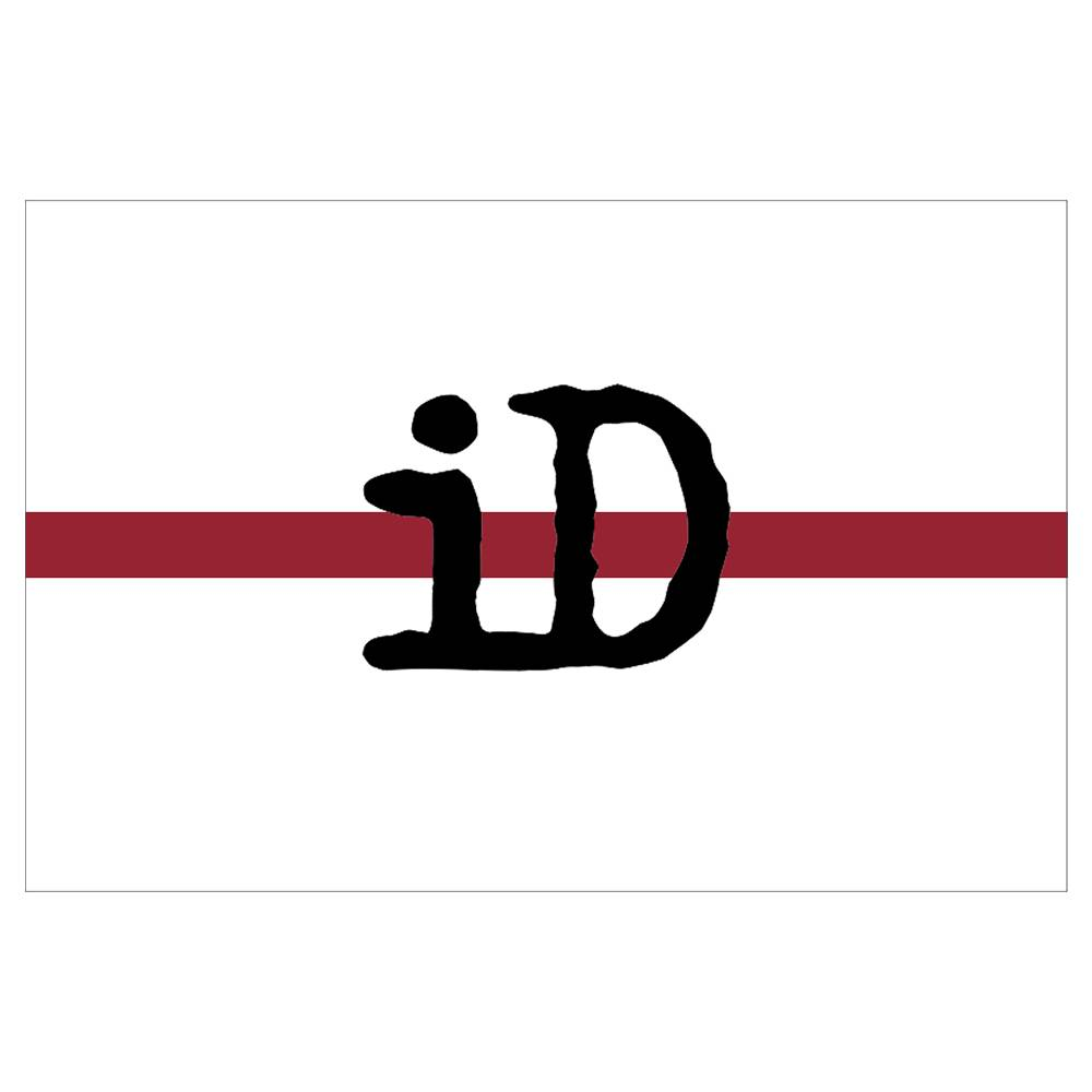 "Flag ""iD"" white and red with black logo"
