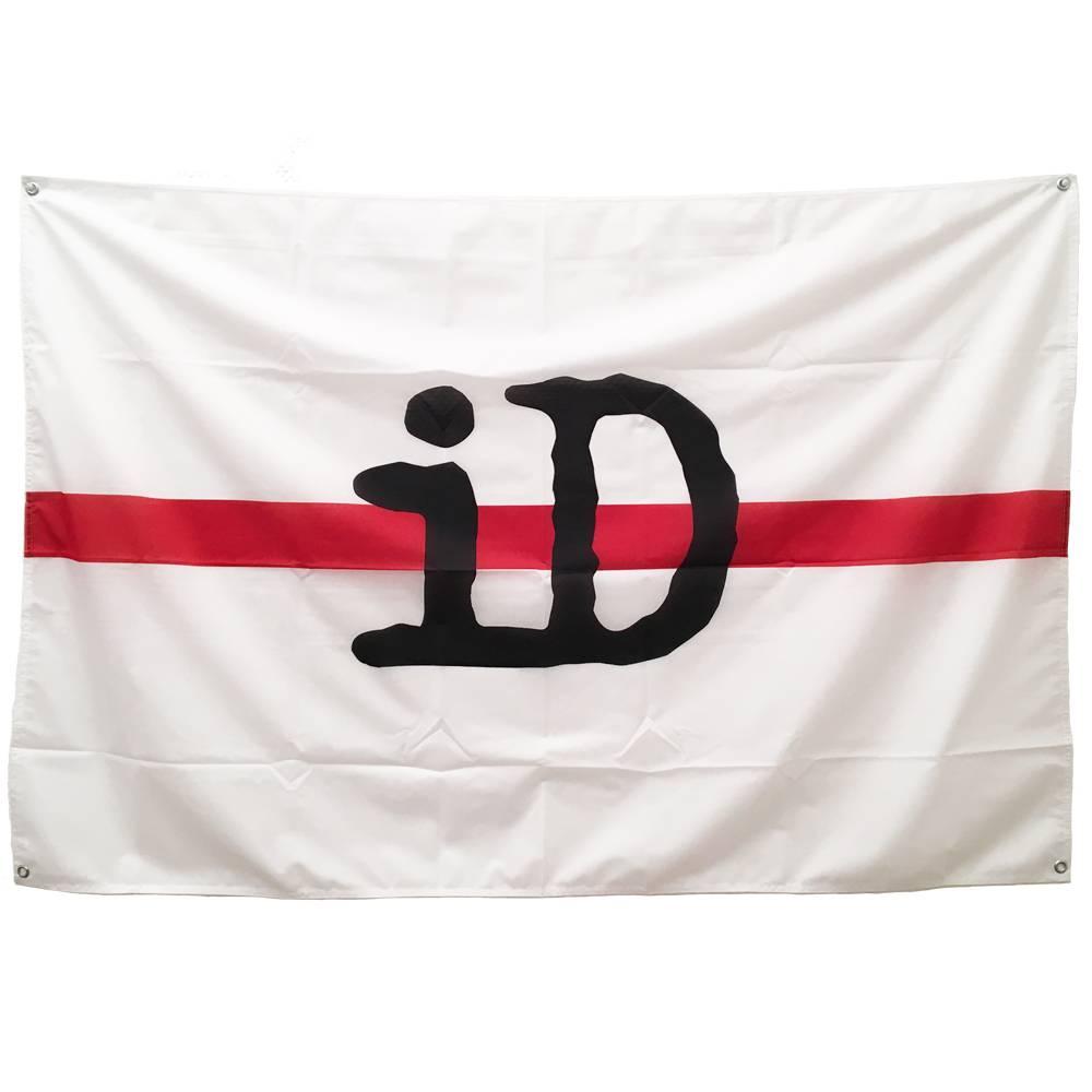 """Flagge / Fahne """"iD"""" weiß und rot mit schwarzem Logo"""