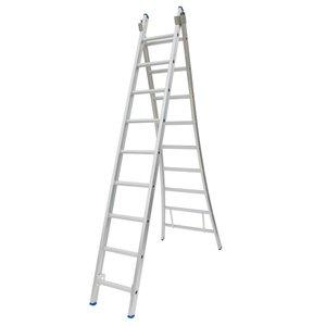 Solide Solide Ladder Type C gecoat dubbel uitgebogen 2x9 sporten