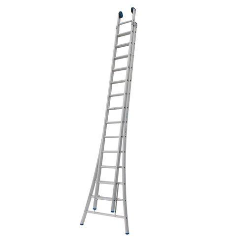 Solide Ladder Type C gecoat dubbel uitgebogen 2x14 sporten + gevelrollen