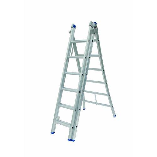 Solide Ladder Type D gecoat driedelig uitgebogen 3x6 sporten