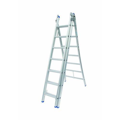 Solide Ladder Type D gecoat driedelig uitgebogen 3x7 sporten