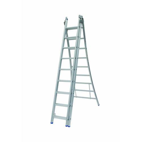 Solide Ladder Type D gecoat driedelig uitgebogen 3x9 sporten