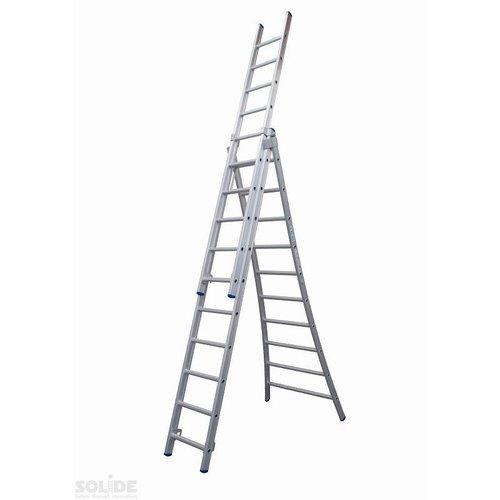 Solide Ladder Type D gecoat driedelig uitgebogen 3x10 sporten