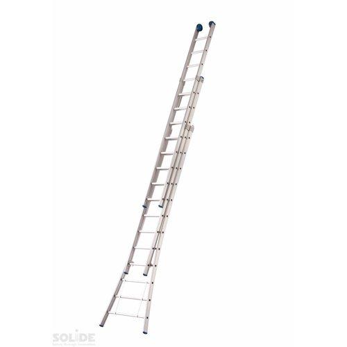 Solide Solide Ladder Type D gecoat driedelig uitgebogen 3x14 sporten + gevelrollen