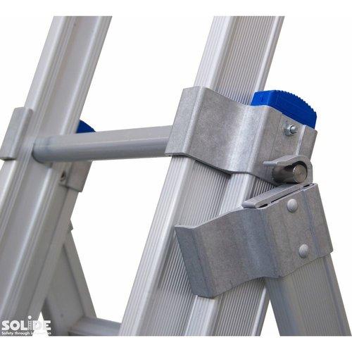 Solide Ladder Type D gecoat driedelig uitgebogen 3x14 sporten + gevelrollen