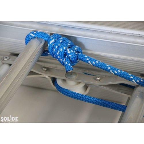 Solide Schuifladder met touw Type E14 gecoat dubbel recht 2x14 sporten + stabiliteitsbalk