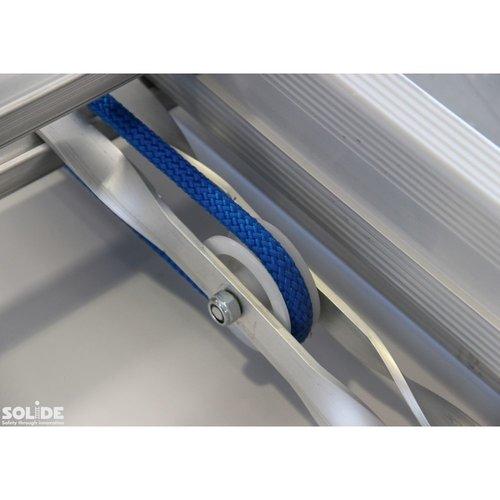 Solide Schuifladder met touw Type E16 gecoat dubbel recht 2x16 sporten + stabiliteitsbalk