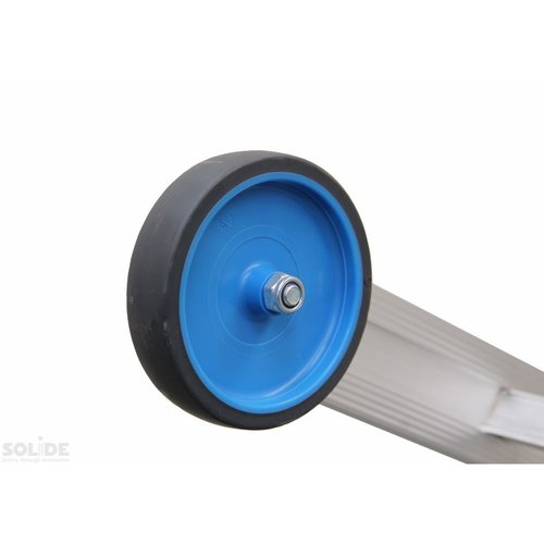 Solide Schuifladder met touw Type E18 gecoat dubbel recht 2x18 sporten + stabiliteitsbalk
