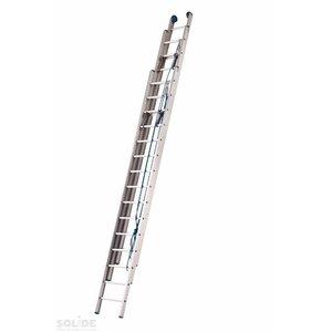 Solide Solide Schuifladder met touw Type F gecoat driedelig recht 3x16 sporten + stabliliteits balk