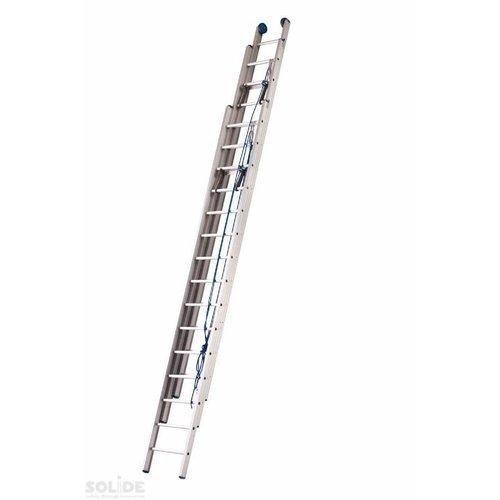 Solide Solide Schuifladder met touw Type F gecoat driedelig recht 3x18 sporten + stabiliteits balk