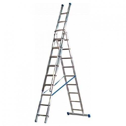 Eurostairs Eurostairs Reform ladder driedelig recht 3x10 sporten + gevelrollen