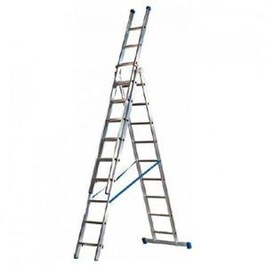 Eurostairs Eurostairs Reform ladder driedelig recht 3x14 sporten + gevelrollen