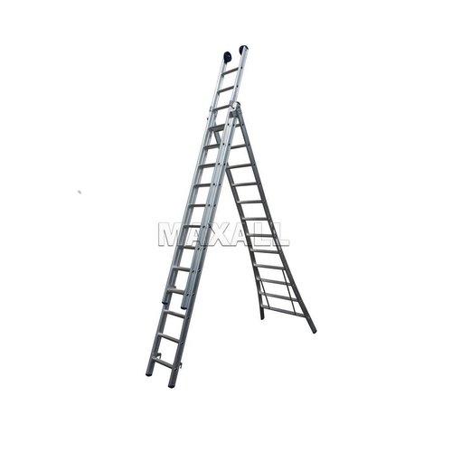 Eurostairs Eurostairs Reform ladder driedelig uitgebogen gecoat 3x12 sporten + gevelrollen