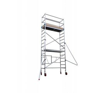 Euroscaffold Vouwsteiger 75x190x6m werkhoogte + rubber wiel + stalen spindel