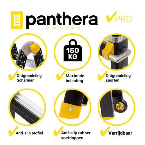 Panthera Vouwladder telescopisch 4x4 black