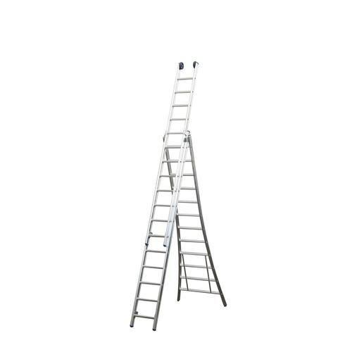 Driedelige ladder 3x7 Maxall uitgebogen blank