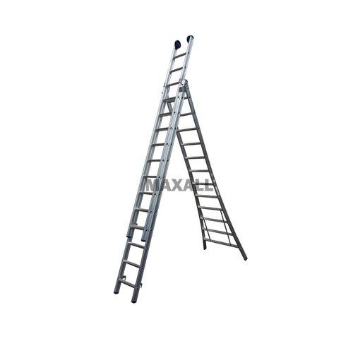 Maxall Maxall Driedelige ladder 3x9 uitgebogen blank