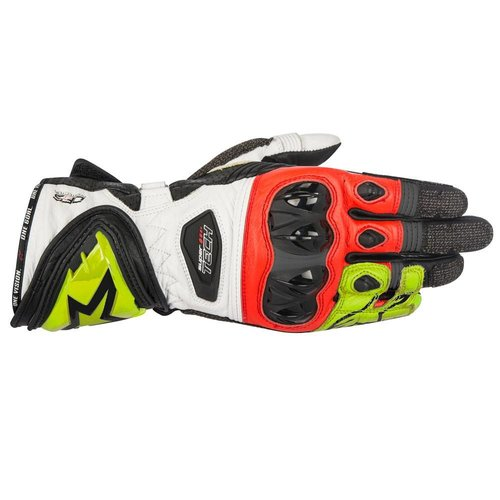 Alpinestars Supertech Leather Gloves - Black/White/Yellow/Fluo Red