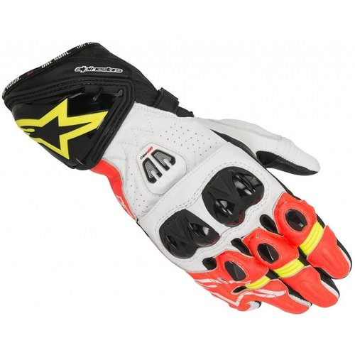 Alpinestars Gp Pro R2 Gloves - Black/White/Red-Yellow Fuo