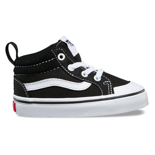 Vans® Toddlers Canvas Racer Mid - Black/True White