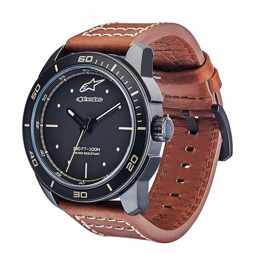 Alpinestars Tech Watch 3H Matt Black/w Brown Leather Strap