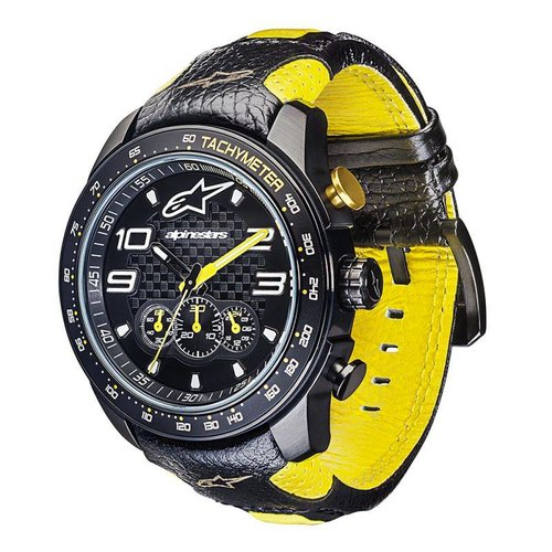 Alpinestars Tech Watch Chrono - Blk/Yllw Leather Strap