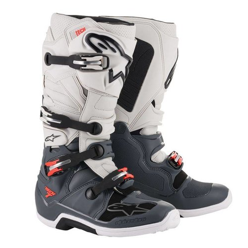 Alpinestars Tech 7 Boot - Dark Gray/ Light Gray/ Red Fluo