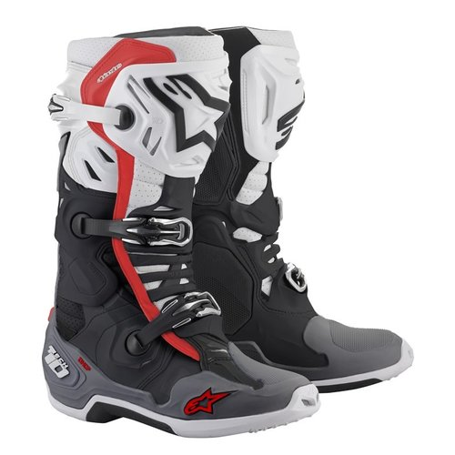 Alpinestars Tech 10 Supervented - Black/White/Mid Gray/Red