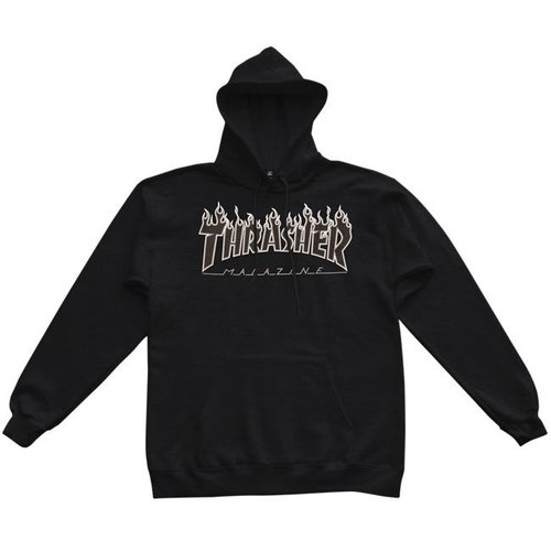 Thrasher Flame Logo Hood - Black/Black