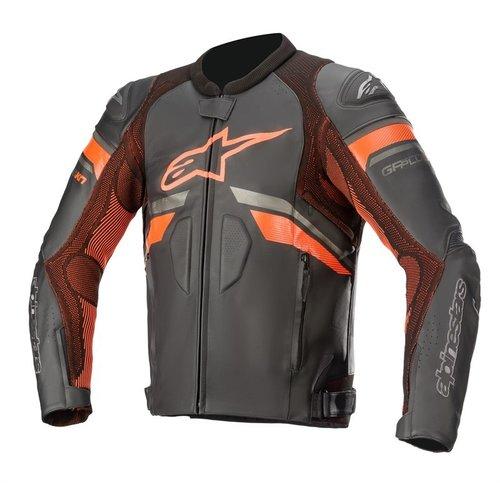 Alpinestars GP Plus R V3 Rideknit Leather Jacket - Black/Red Fluo
