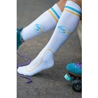 RadGal  Rollerskate High Socks - White/Yellow/Blue