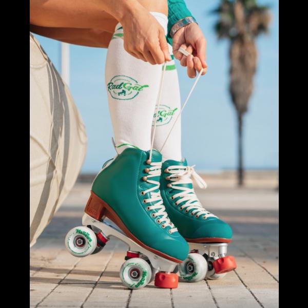 RadGal  Rollerskate High Socks - White/Green/Drk Grn
