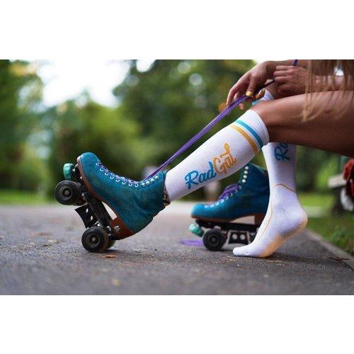 RadGal  Rollerskate High Socks - White/Yellow/Light Blue