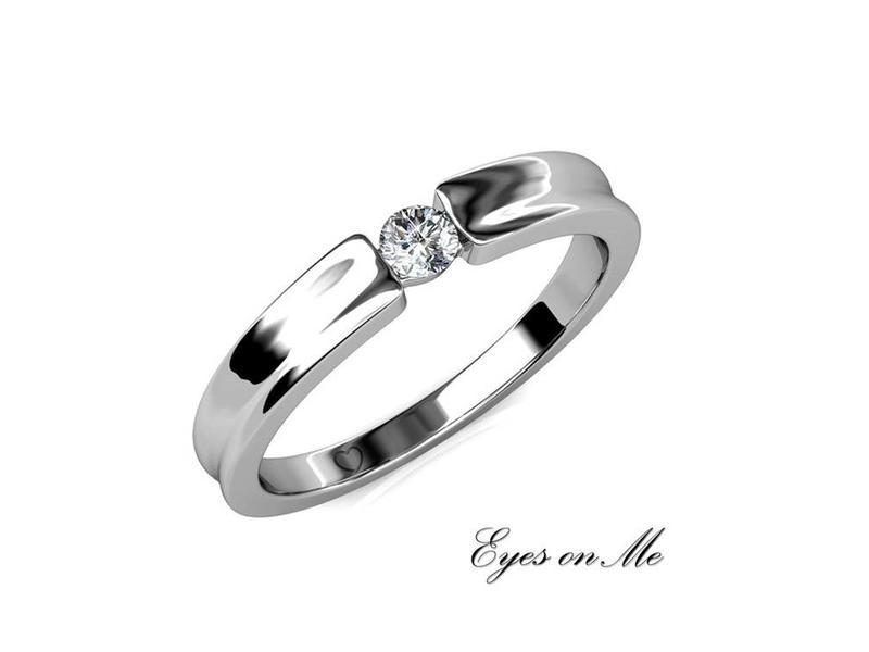 """""""Eyes on Me"""" witgoud vergulde ring met SWAROVSKI elements  (model R0021-WG)"""