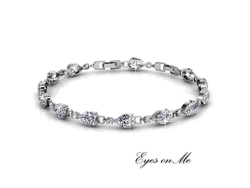 """Eyes on Me""   witgoud vergulde armband met SWAROVSKI elements  (model B0002-WG)"