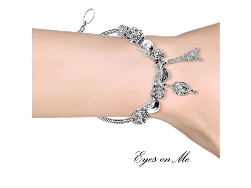 """Eyes on Me"" witgoud vergulde armband met SWAROVSKI elements  (model B0011-WG)"